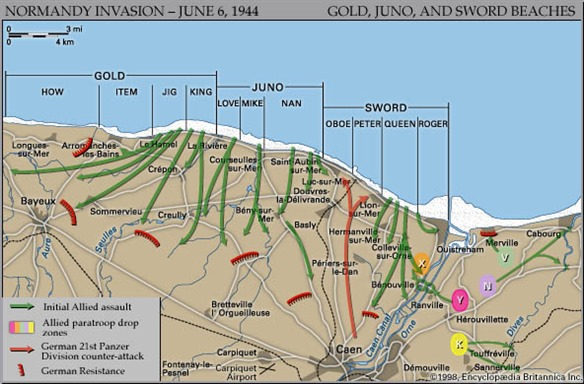Normandy Landing Beaches (about 1½ hrs)  -  110 km